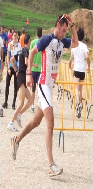 The kayakist Albert Corominas finished second at the first Porqueres popular duathlon